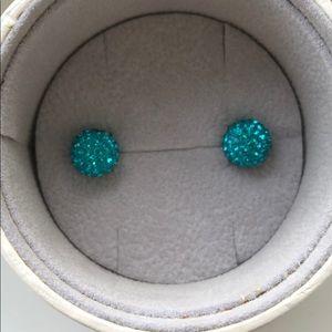 Hillberg & Berk Turquoise sparkle ball earrings
